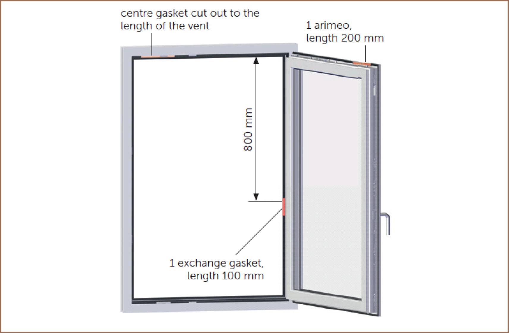 arimeo classic S installation variant single acoustic centre gasket system